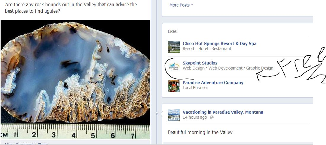 Facebook page capture showing advertisement on page for SkyPoint Studios web design billings MT