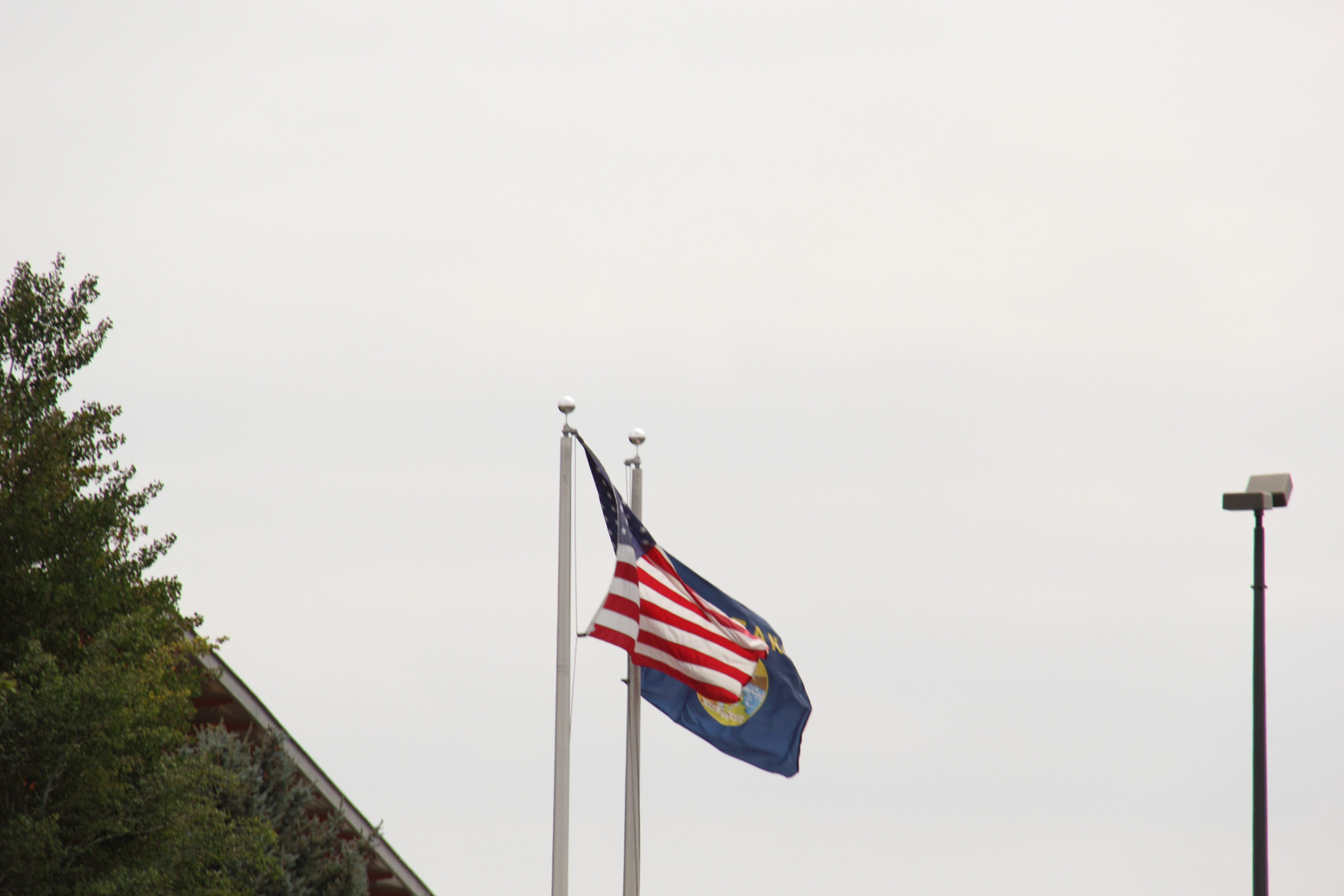 American flag and Montana flag flying