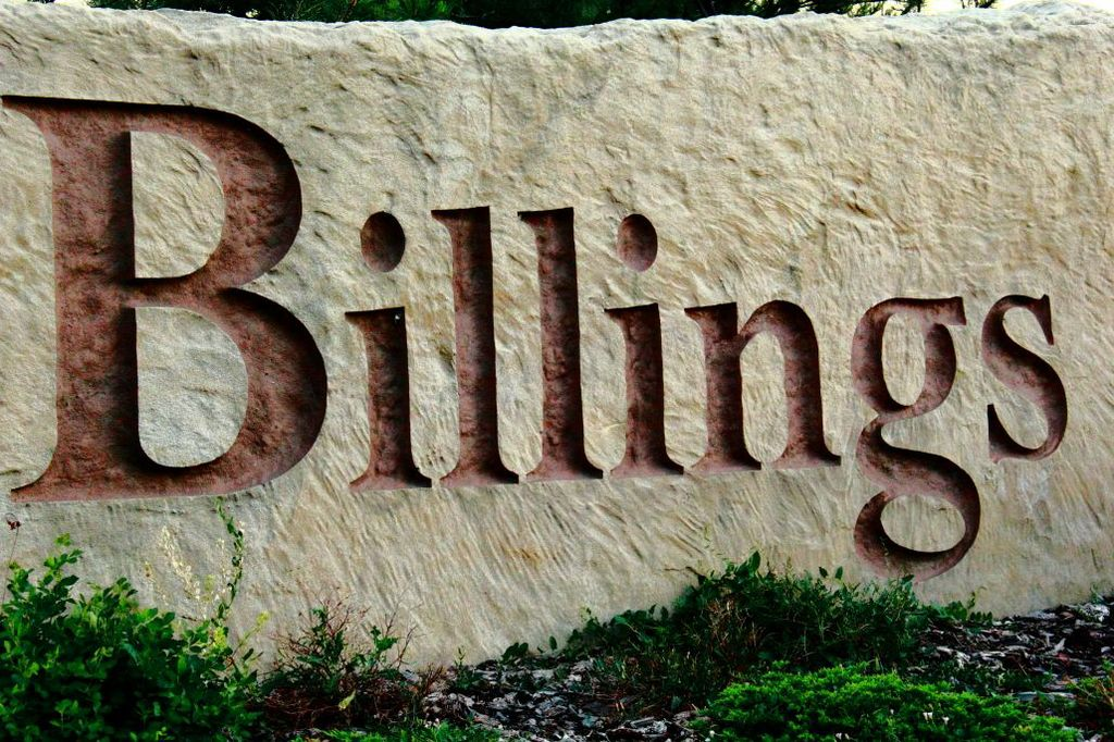 Close up of Welcome to Billings rock sign Billings part