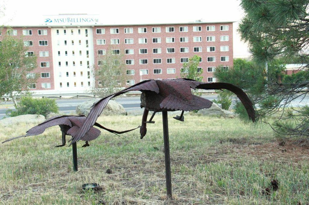 MSU Billings Swan Scultptures in front of Dorm Building