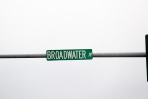 Sign for Broadwater Avenue Billings MT