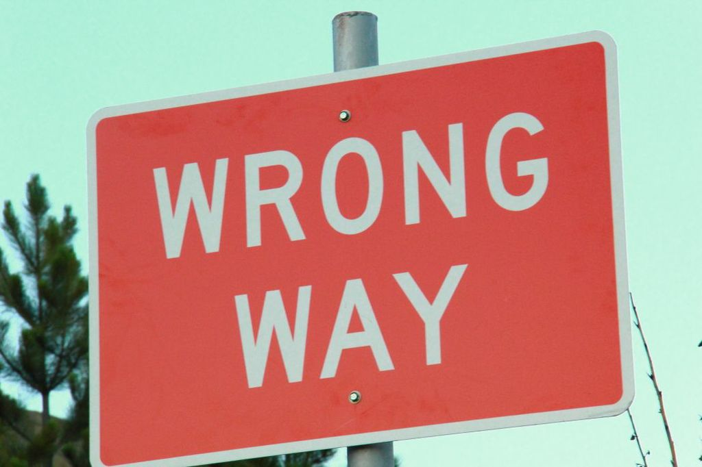 Wrong Way Sign Red Sign White Letters Billings Montana