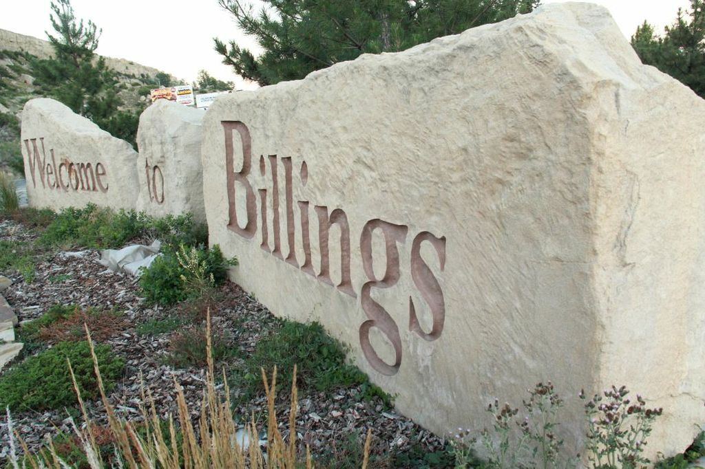 unique angle on Welcome to Billings rock sign