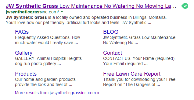 JW Synthetic Grass - Rich Snippets Example - SkyPoint Studios Web Designed Site