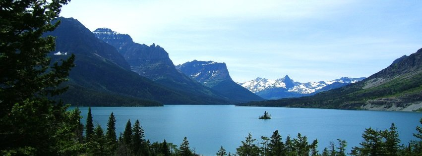 Glacier Park Lake Pine Trees Mountains Snow Montana Facebook Cover