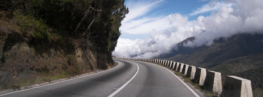 Montana Road In Mountains With Clouds Facebook Cover