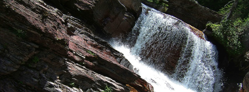 Montana Water Falls Glacier Park Water River Beauty Facebook Cover