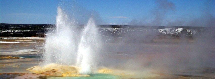 Geyser Erupting Yellowstone Park Facebook Covers