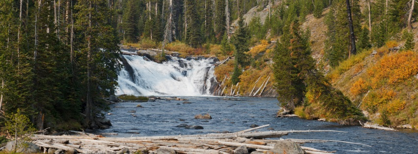 Waterfall Into River Yellowstone National Park Facebook Covers
