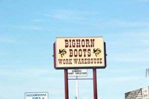 Big Horn Boots Work Warehouse sign Grand Avenue Billings Montana