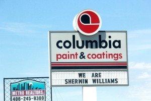 Columbia Paint & Coatings sign Grand Ave Billings MT