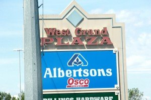 West Grand Plaza sign with Albertsons Grand Ave Billings MT