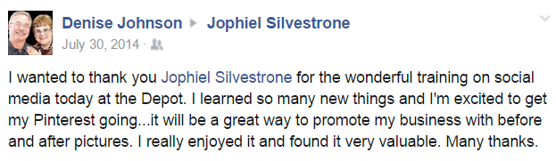 Denise Johnson Testimonial Review on Social media class taught by Jophiel Silvestrone of SkyPoint Studios Billings MT