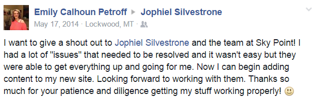 Emily Calhoun Petroff shout out on Facebook review of SkyPoint Studios with Jophiel Silvestrone web developer and CEO