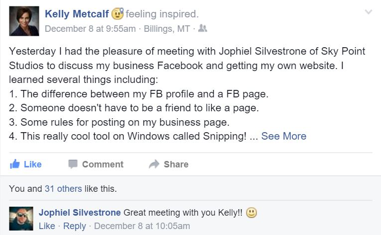 Kelly Metcalf positive feedback for SkyPoint Studios