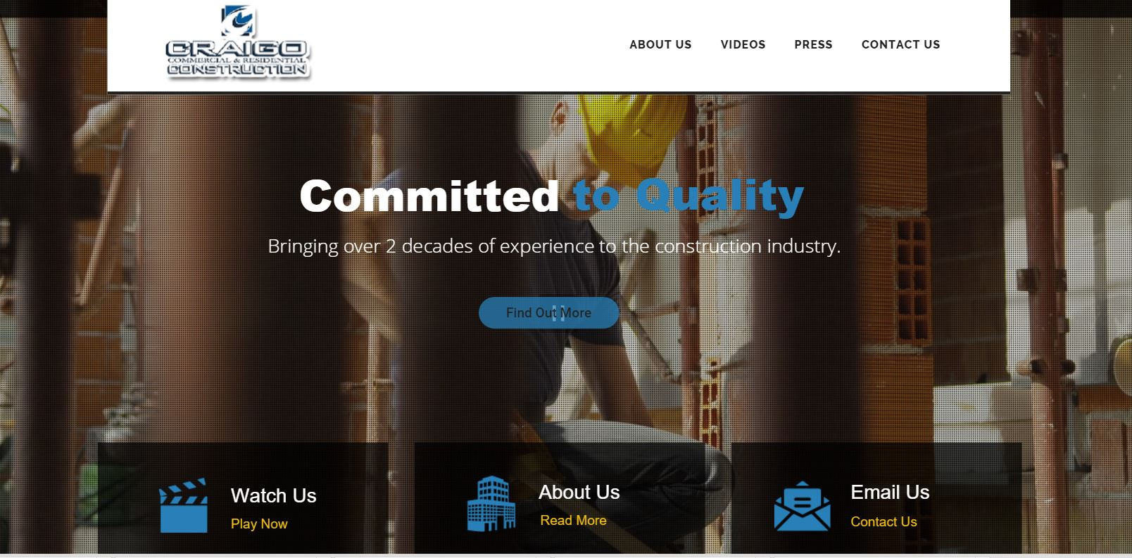 Craigo Construction website design by SkyPoint Studios
