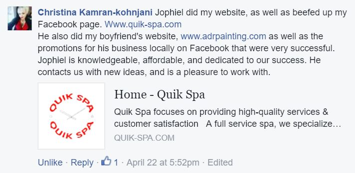 Feedback on SkyPoint Studios from Christina at Quik Spa