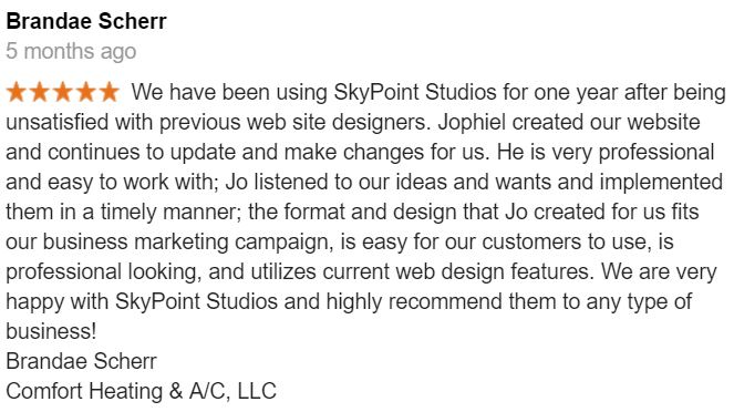 review-on-website-design-from-comfort-heating-and-cooling-on-skypoint-studios