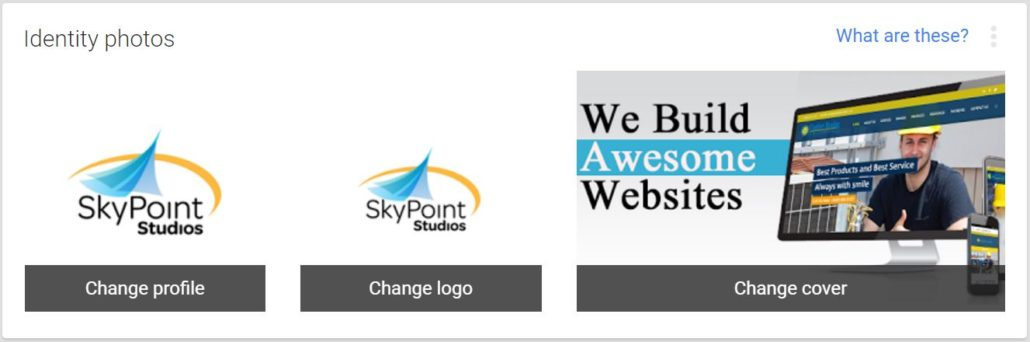 SkyPoint Studios Google My Business listing logos and cover address SEO