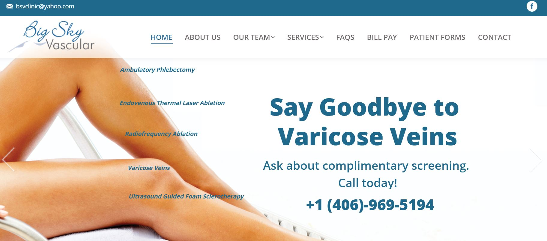 Big Sky Vascular website design by SkyPoint Studios