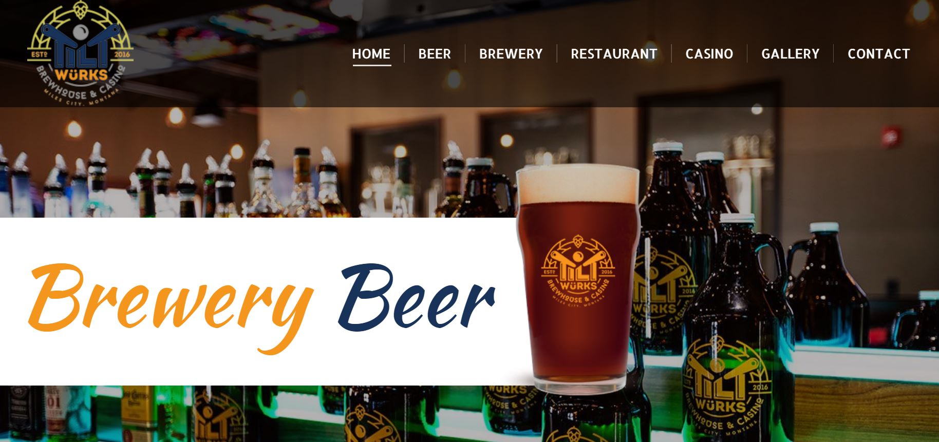 Tilt Wurks Brewhouse and Casino website design by SkyPoint Studios