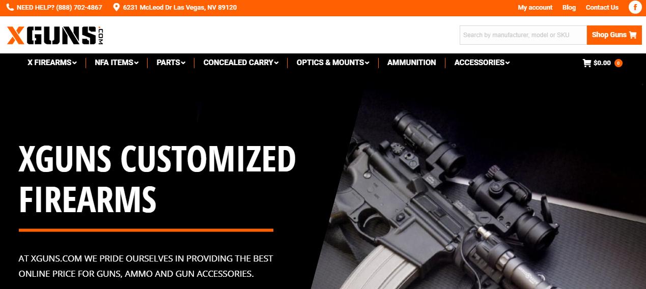 Xguns website design by SkyPoint Studios