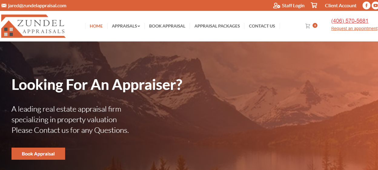 Zundel Appraisals website design by SkyPoint Studios